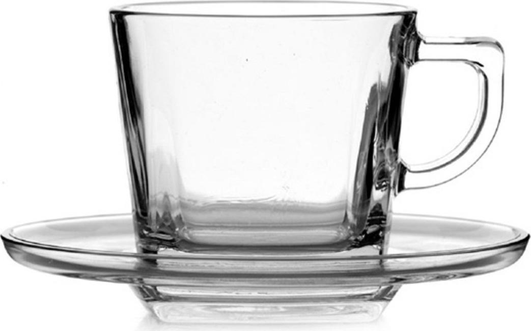 """Чашка с блюдцем Pasabahce """"Baltic """", цвет: прозрачный, 215 мл, 12 шт"""
