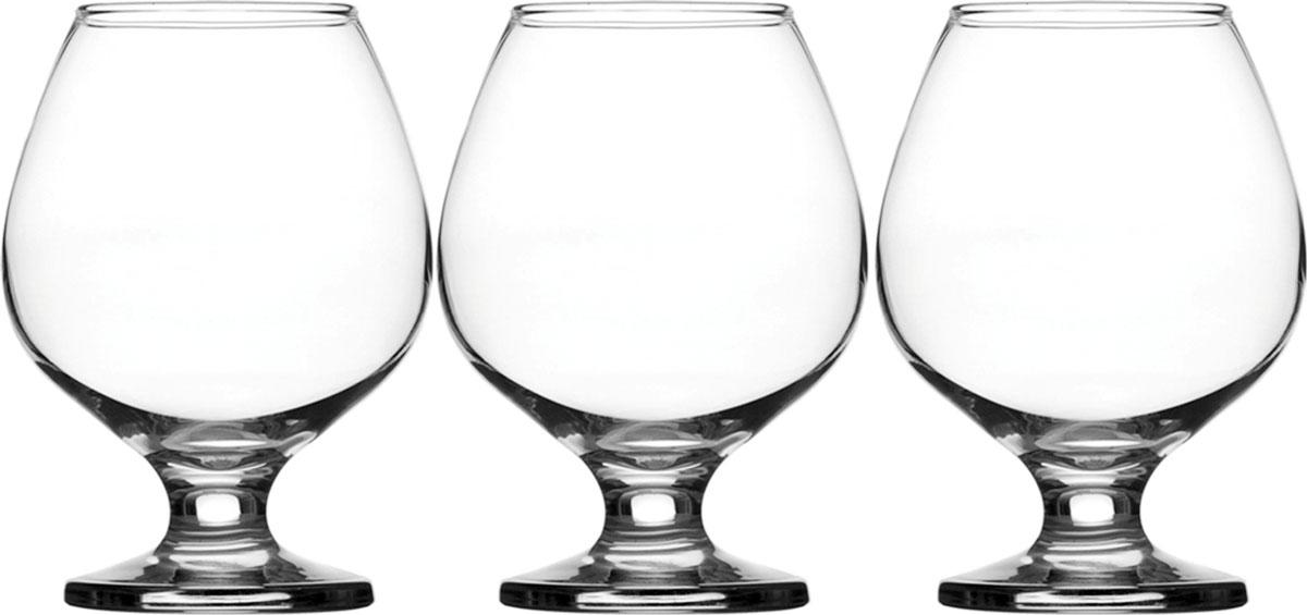 Набор фужеров для коньяка Pasabahce Bistro , цвет: прозрачный, 375 мл, 3 шт набор фужеров для шампанского pasabahce bistro цвет прозрачный 275 мл 6 шт