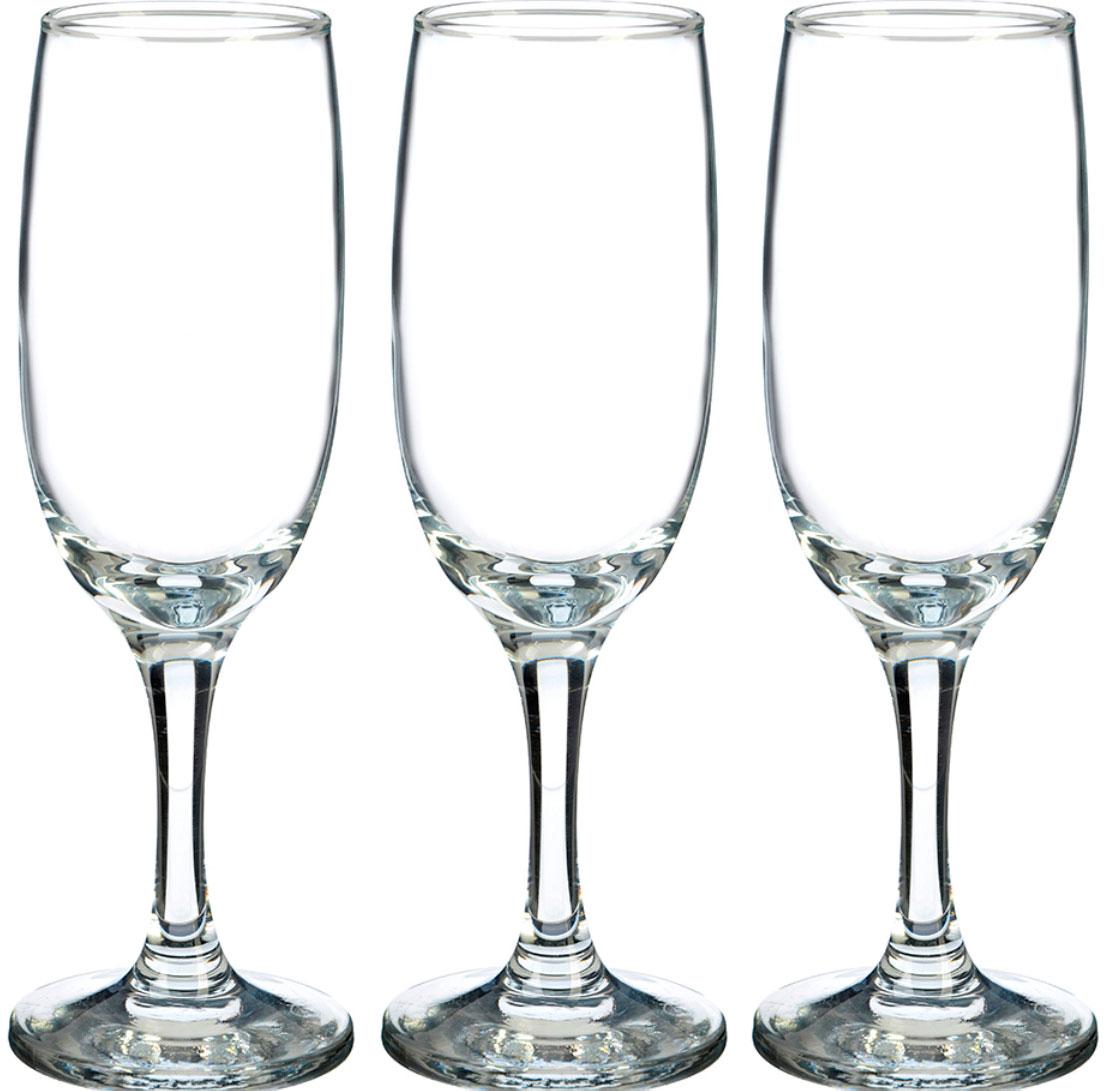 Набор фужеров для шампанского Pasabahce Bistro , цвет: прозрачный, 180 мл, 3 шт набор фужеров для шампанского pasabahce bistro цвет прозрачный 275 мл 6 шт