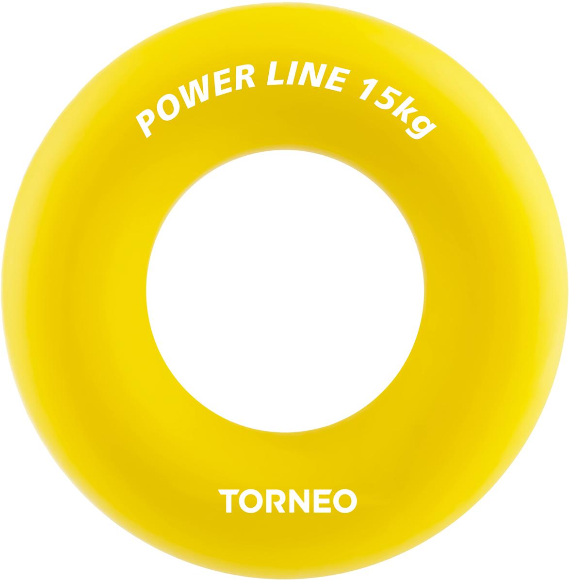 Эспандер кистевой Torneo, диаметр 8,8 см, сопротивление 15 кг, цвет: желтый эспандер кистевой torneo hand зеленый