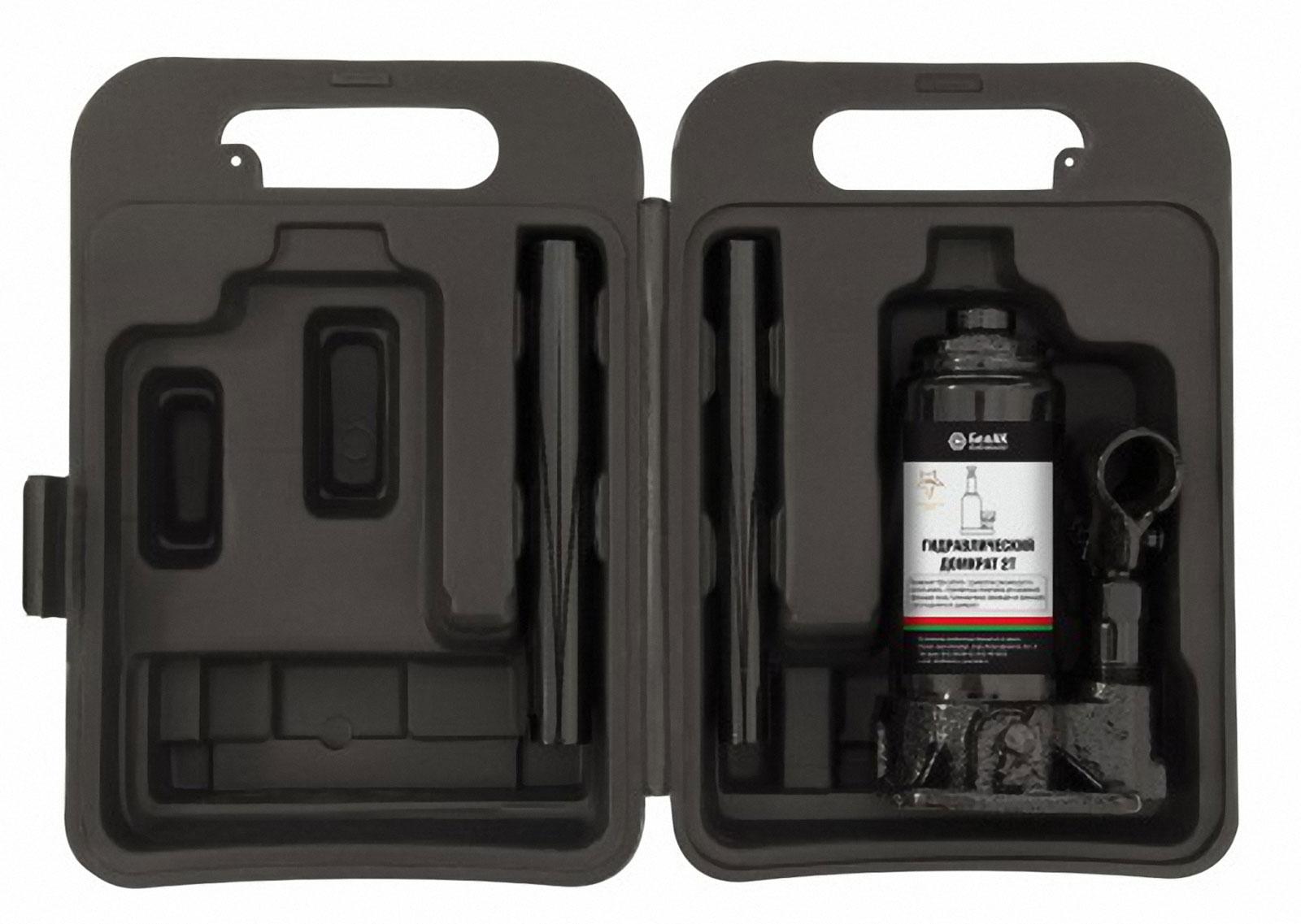 Домкрат бутылочный БелАвтоКомплект, в кейсе, 2 т домкрат autoprofi dg 02k гидравлический бутылочный 2 т высота подъёма 308 мм в кейсе