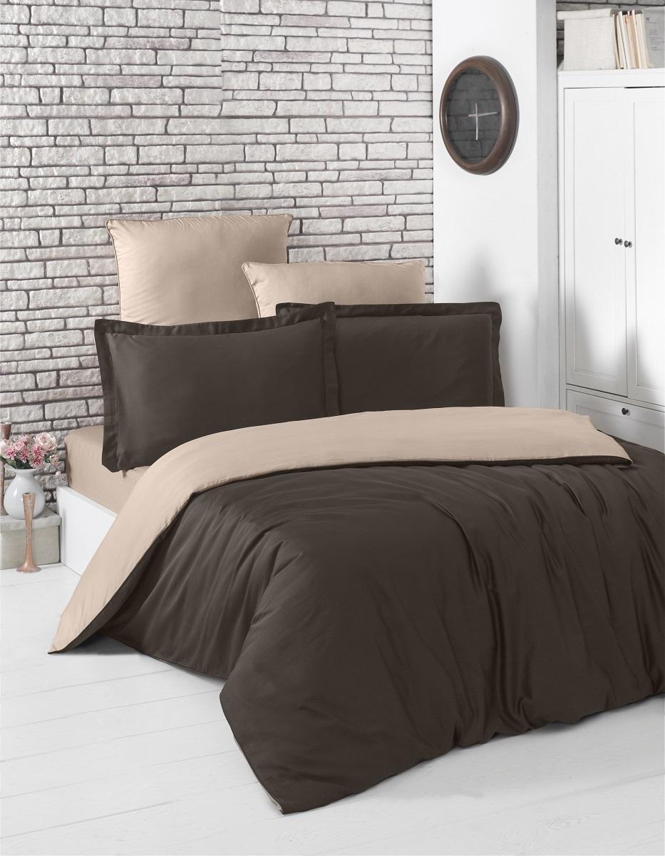 """Комплект белья """"Karna"""", 1,5-спальный, наволочки 50x70, цвет: шоколадный, светло-коричневый. 2983"""