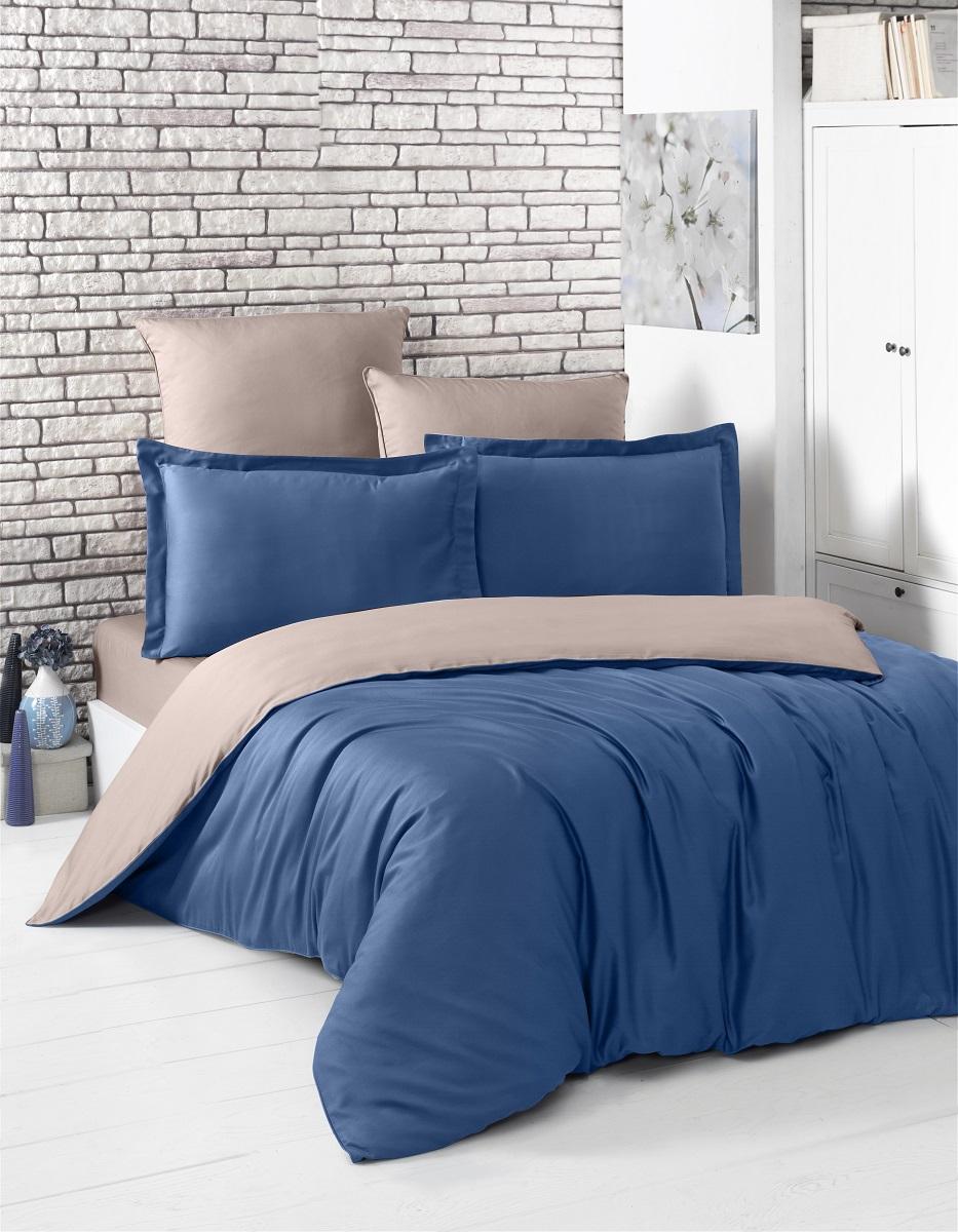 """Комплект белья """"Karna"""", 1,5-спальный, наволочки 50x70, 70х70, цвет: синий, светло-коричневый. 2983"""