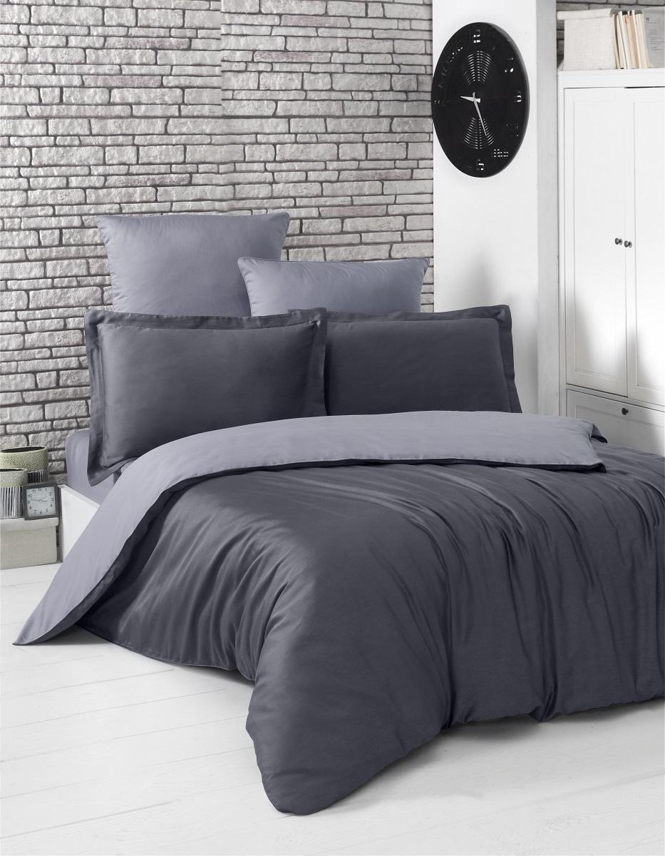 """Комплект белья """"Karna"""", 1,5-спальный, наволочки 50x70, цвет: темно-серый, серый. 2983"""