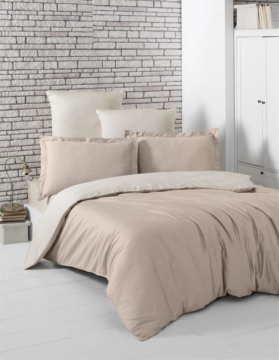 """Комплект белья """"Karna"""", 1,5-спальный, наволочки 50x70, цвет: светло-коричневый, бежевый. 2983"""