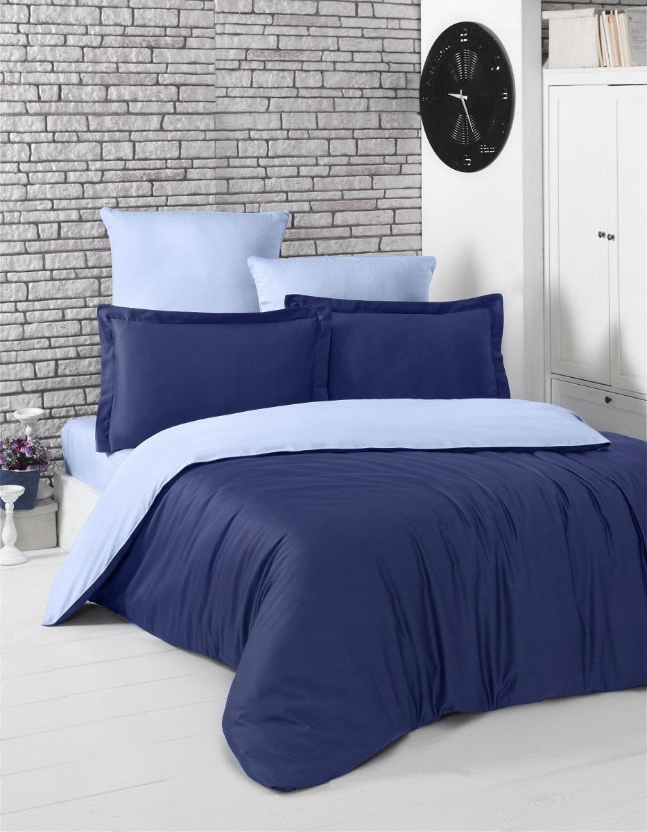 """Комплект белья """"Karna"""", 1,5-спальный, наволочки 50x70, цвет: темно-синий, голубой. 2983"""