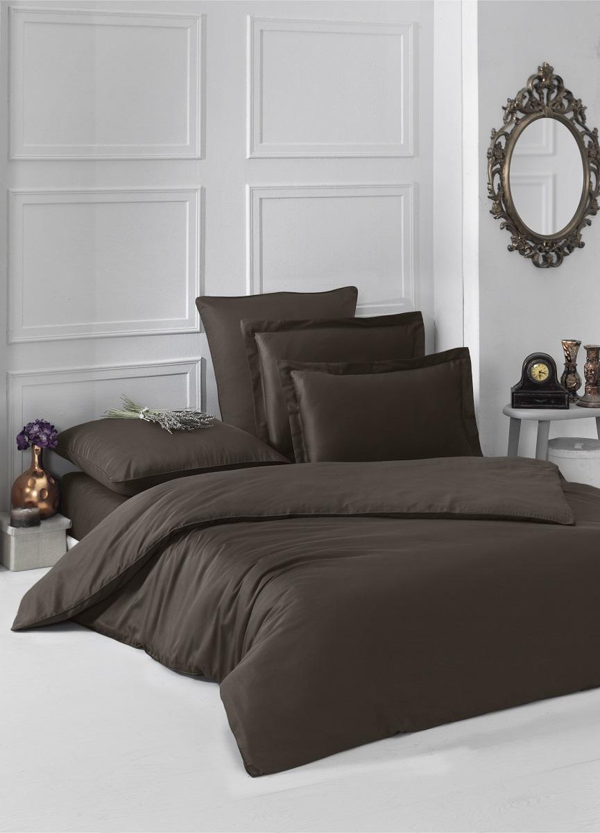 """Комплект белья """"Karna"""", 1,5-спальный, наволочки 50x70, 70x70, цвет: шоколадный. 2985"""