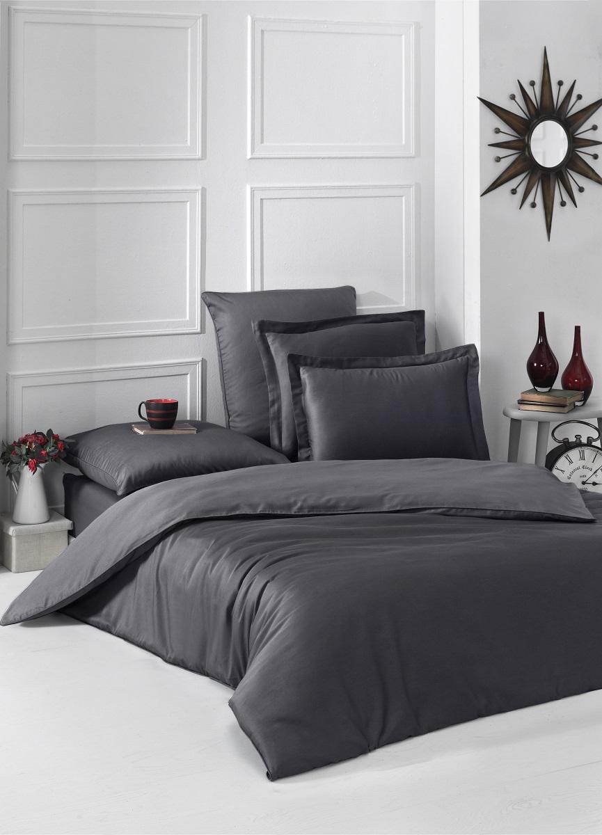 """Комплект белья """"Karna"""", 1,5-спальный, наволочки 50x70, 70x70, цвет: темно-серый. 2985"""