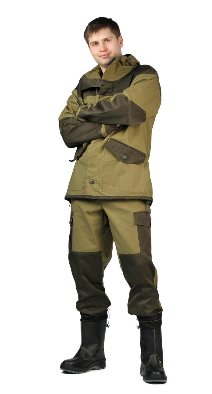 Костюм утепленный URSUSКОС818-270Материал основной: Палаточное полотно (100% хлопок) плотность 235 г/м2, водоотталкивающий Костюм состоит из куртки с брюками Куртка: - свободного кроя; - застёжка центральная супатная, на петлю и пуговицу; - капюшон с козырьком, имеет утягивающую кулису для регулировки по объёму; - в области локтя усилительные фигурные накладки; - 2 нижних накладных кармана с клапаном, на петлю и пуговицу; - низ рукавов на резинке; - по низу изделия кулиса для регулировки по объёму - Брюки: - свободного покроя с поясом на петлю и пуговицу; - гульфик с застёжкой на молнию; - 2 боковых накладных кармана с клапаном; - задние половинки под коленом собраны резинкой; - низ на резинке;