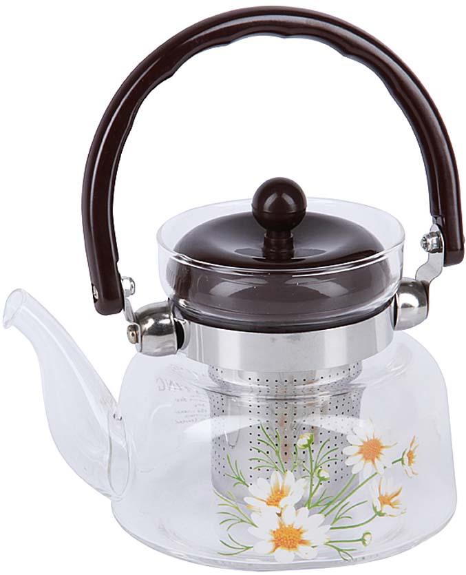 Чайник заварочный Rosenberg, цвет: черный, прозрачный, 600 мл. RGL-250018 графин rosenberg rgl 065005