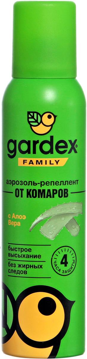 Аэрозоль-репеллент от комаров Gardex Family, с алое вера, 150мл репелленты и пропитки rossiskaya distribou family аэрозоль репеллент от комаров 150 мл