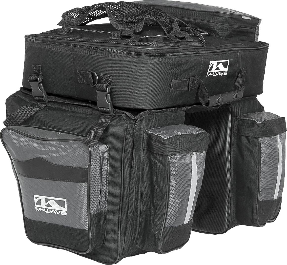 Велосумка-штаны на багажник M-Wave L, трехобъемная с верхним съемным рюкзаком, 62 л