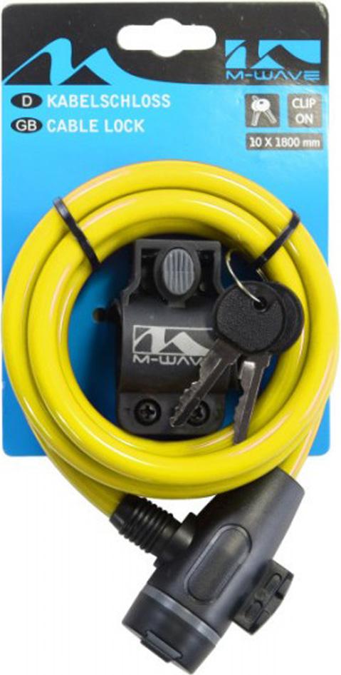 Замок для велосипеда M-Wave 10х1800 мм, с ключом, с креплением за подседельный штырь, желтый