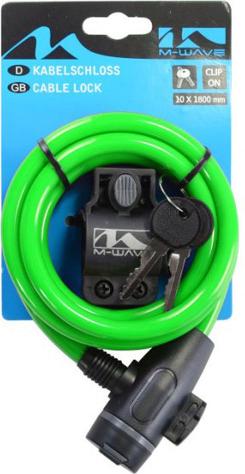 Замок для велосипеда M-Wave 10х1800 мм, с ключом, с креплением за подседельный штырь, зеленый