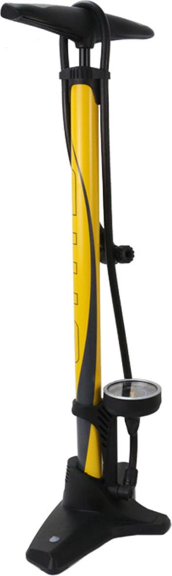 Насос для велосипеда Giyo GF5525 напольный стальной, 11 атм/160psi, большой манометр, авто/вело ниппель, желтый цена