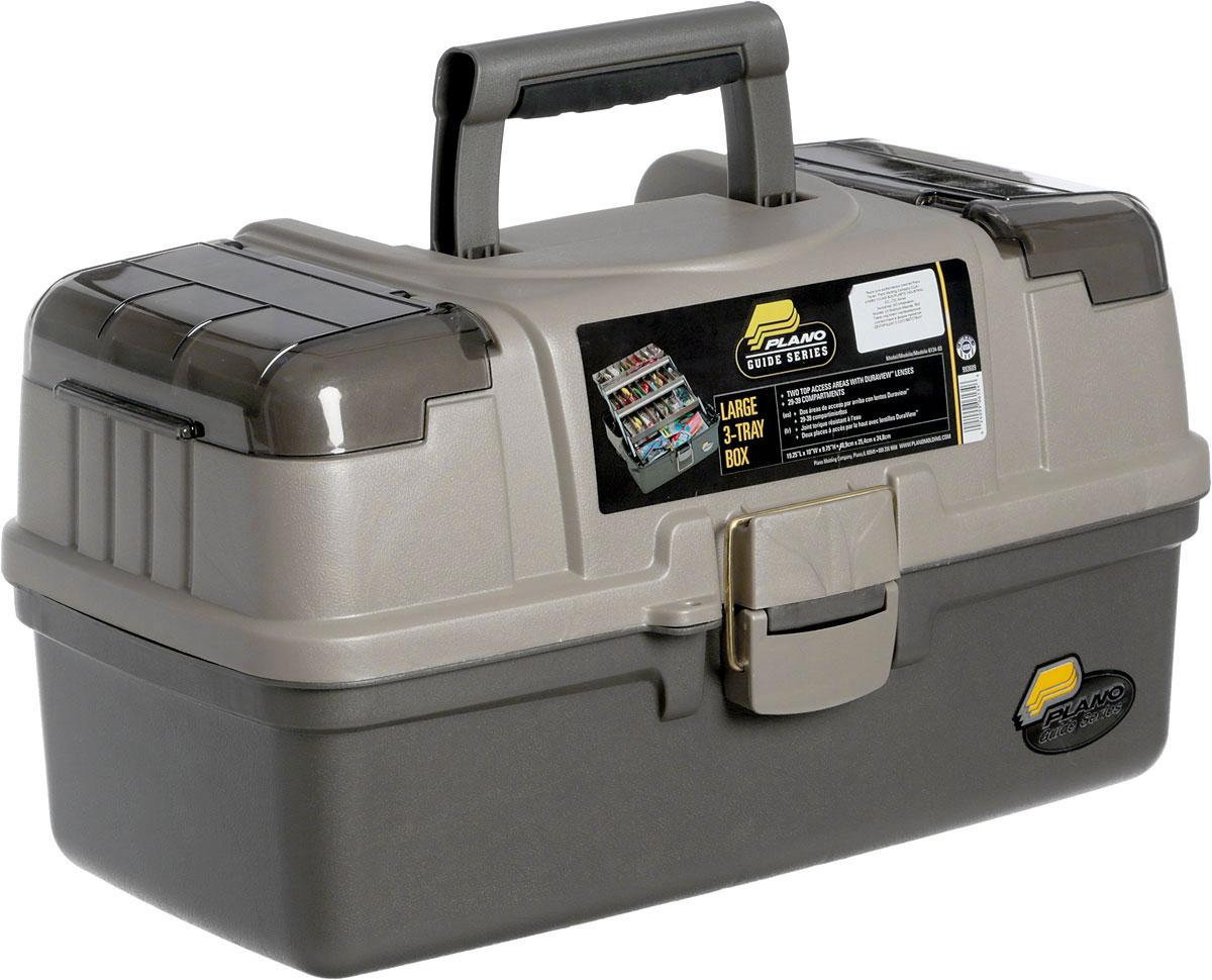 Ящик рыболовный Plano, с 3-х уровневой системой хранения приманок, цвет: серый ящик рыболовный зимний salmo цвет оранжевый 40 х 22 х 32 см