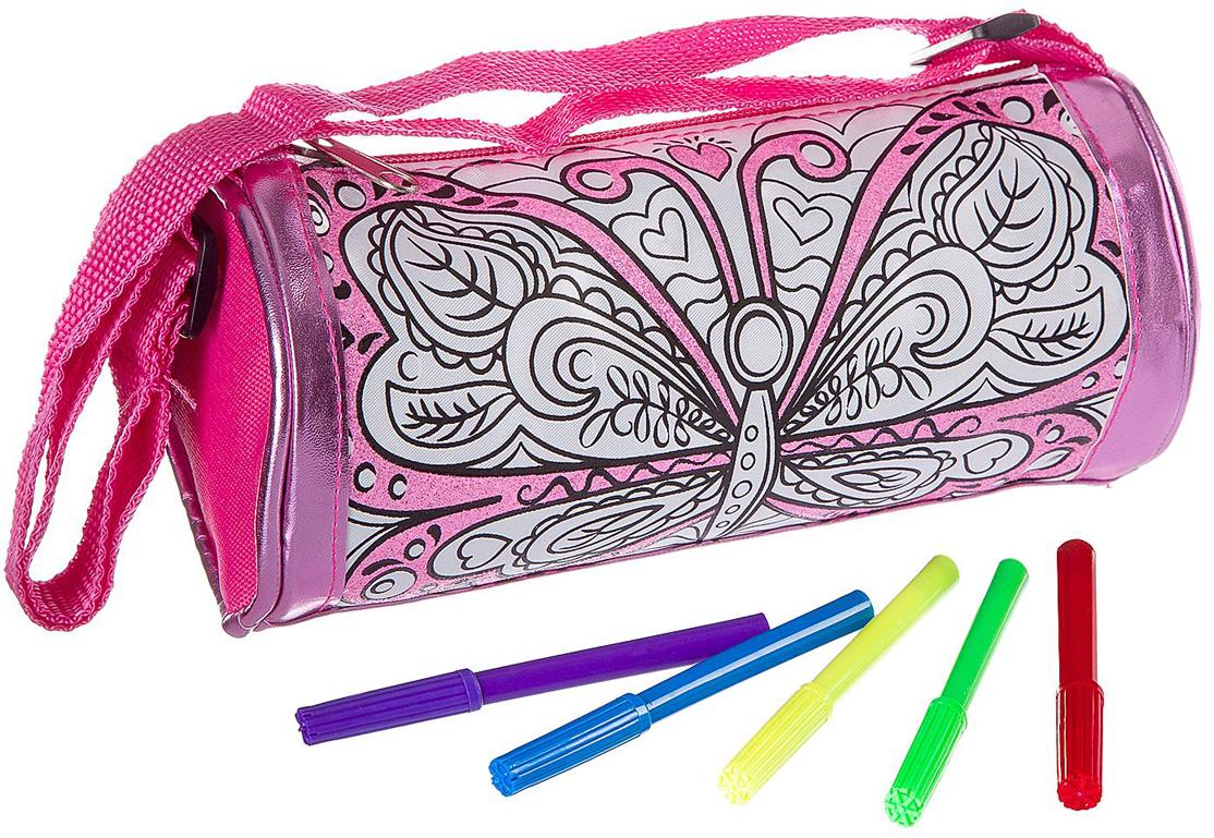 Bondibon Набор для раскрашивания сумки с блестками Бабочка