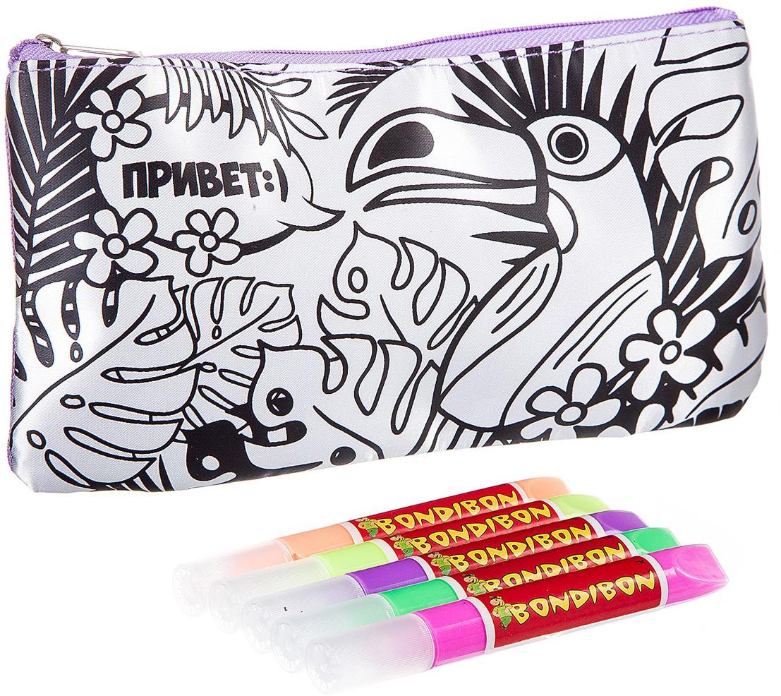 Bondibon Раскраска с 3D красками пенал Тукан