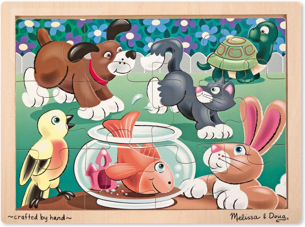 Melissa & Doug Пазл для малышей Мои первые пазлы Шаловливые животные пазл контур для малышей домашние животные в к 27 5 20 4 см
