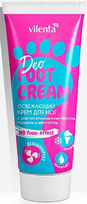 Vilenta Крем для ног Освежающий Deo Foot Cream с растительным комплексом, тальком и ментолом, 75 млВКН001Освежающий крем для ног No Fu-u-u Effect с растительным комплексом, тальком и ментолом. Охлаждает, увлажняет и дезодорирует ножки. Результат: увлажненная кожа ножек и полное отсутствие малейшего неприятного запаха. Товар сертифицирован.