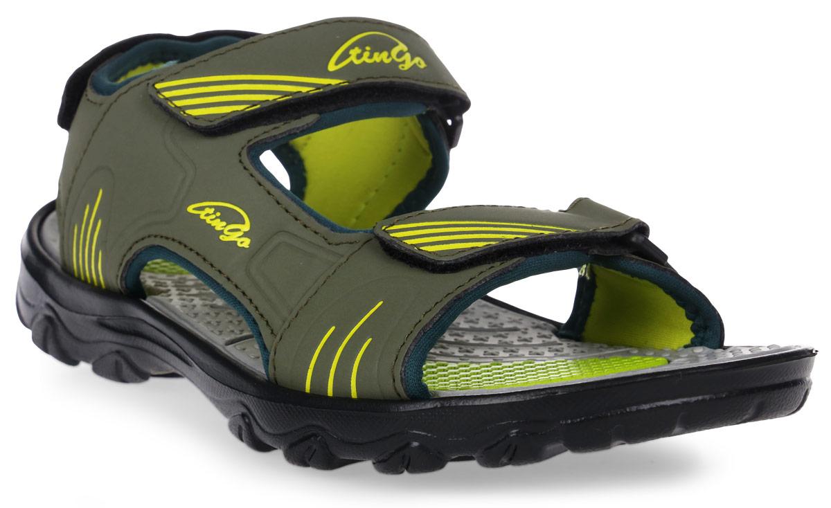 Сандалии для мальчика Тинго, цвет: хаки. ST36560. Размер 37ST36560Спортивные сандалии Тинго изготовлены из ЭВА-материала с текстильной отделкой внутри. Их легко надевать и застегивать. Ремешки на липучках позволяют максимально удобно застегнуть сандалии точно по ноге. Легкая и эргономичная конструкция из ЭВА надежно поддерживает ногу. Рифление на подошве гарантирует отличное сцепление с любыми поверхностями.