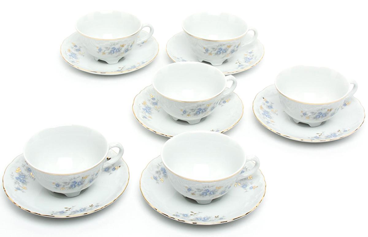 """Набор чайный Cmielow """"Rococo. Голубой цветок"""", 220 мл, 12 предметов"""