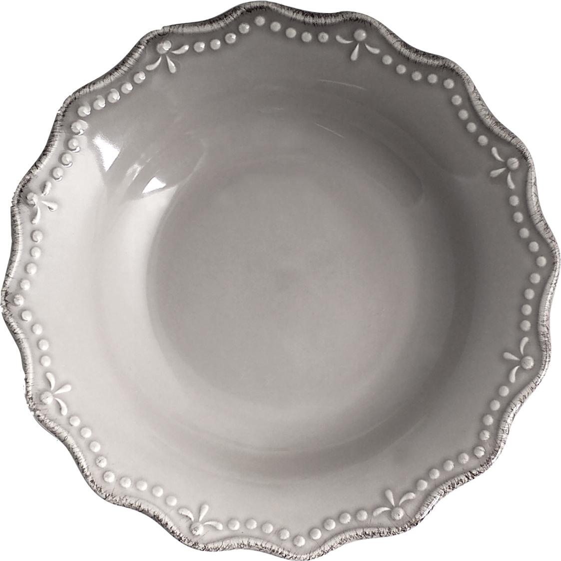 """Тарелка глубокая """"H&H"""", цвет: серый, диаметр 21 см"""