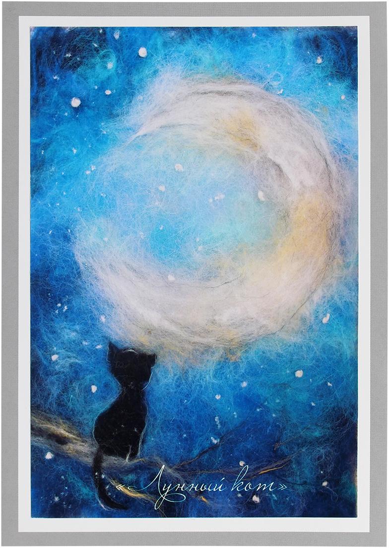 Набор для валяния Живопись шерстью Лунный кот, 21x29,7 см набор для валяния шерстью с бисером школа талантов ласточка 21 5 х 33 см