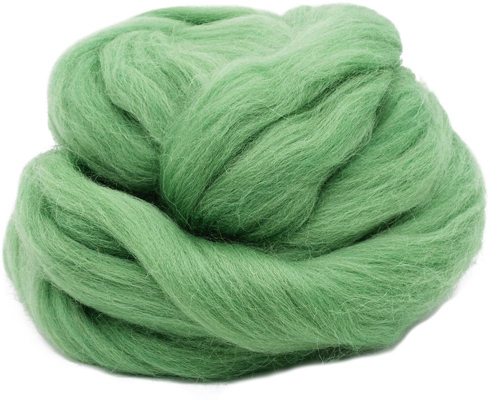Шерсть для валяния Троицкая, цвет: зеленое яблоко, 100 г шерсть для валяния астра тонкая цвет розовый 0160 100 г