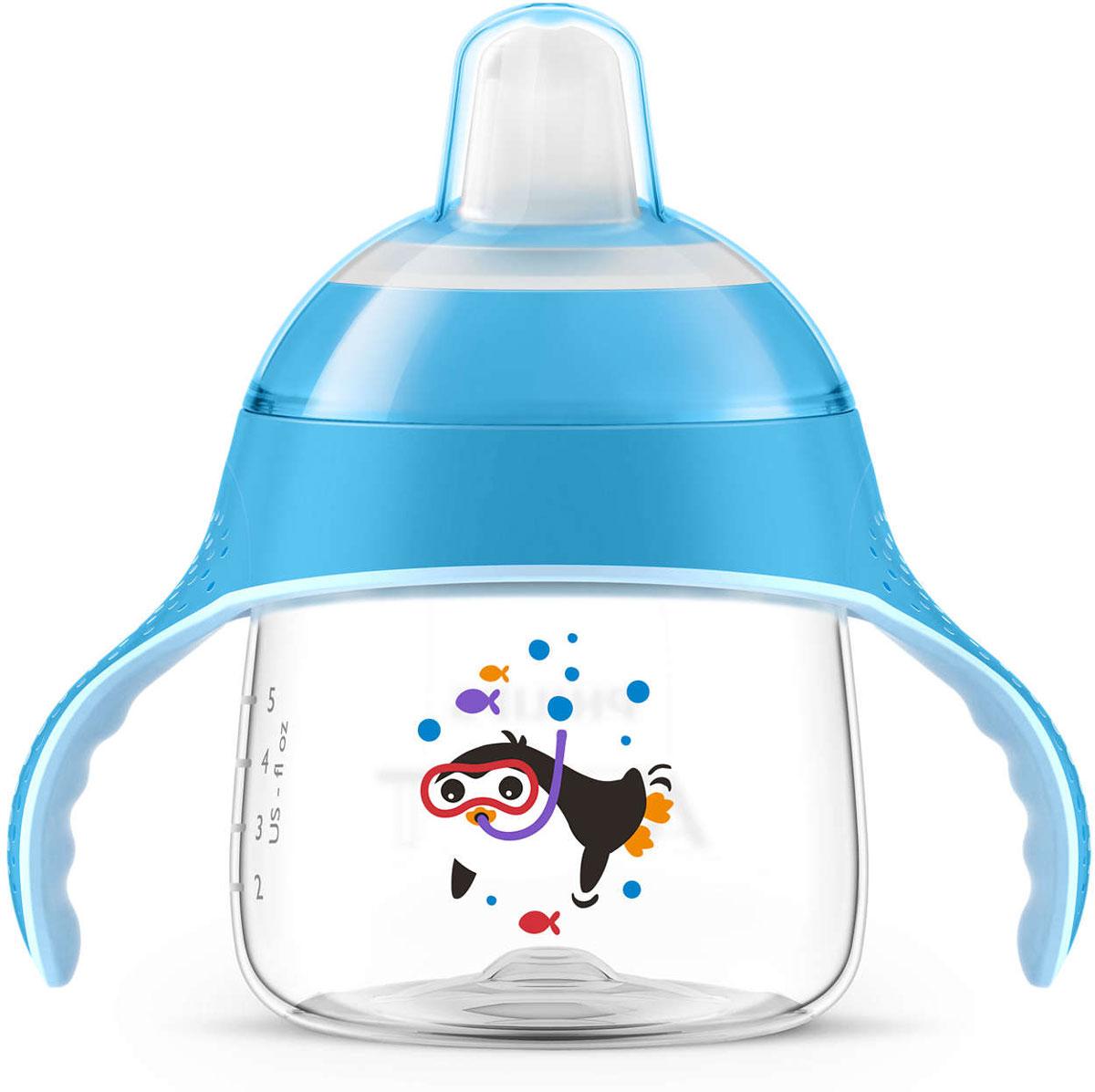 Philips Avent Волшебная чашка-непроливайка от 6 месяцев цвет: голубой, 200 мл SCF751/00 сменный силиконовый носик avent черный 6 2 шт для scf751 00