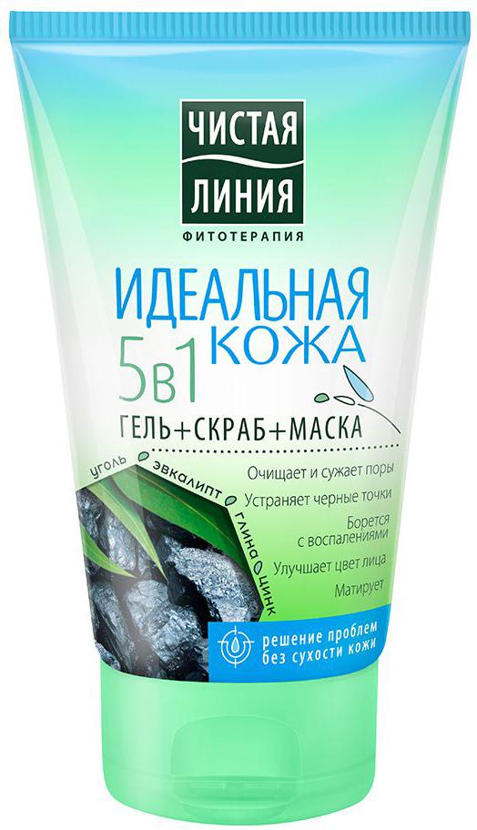 Чистая Линия Идеальная кожа гель+скраб+маска для лица 5в1, 120 мл крем гель для лица чистая линия идеальная кожа 45 мл 24 часа 67222756