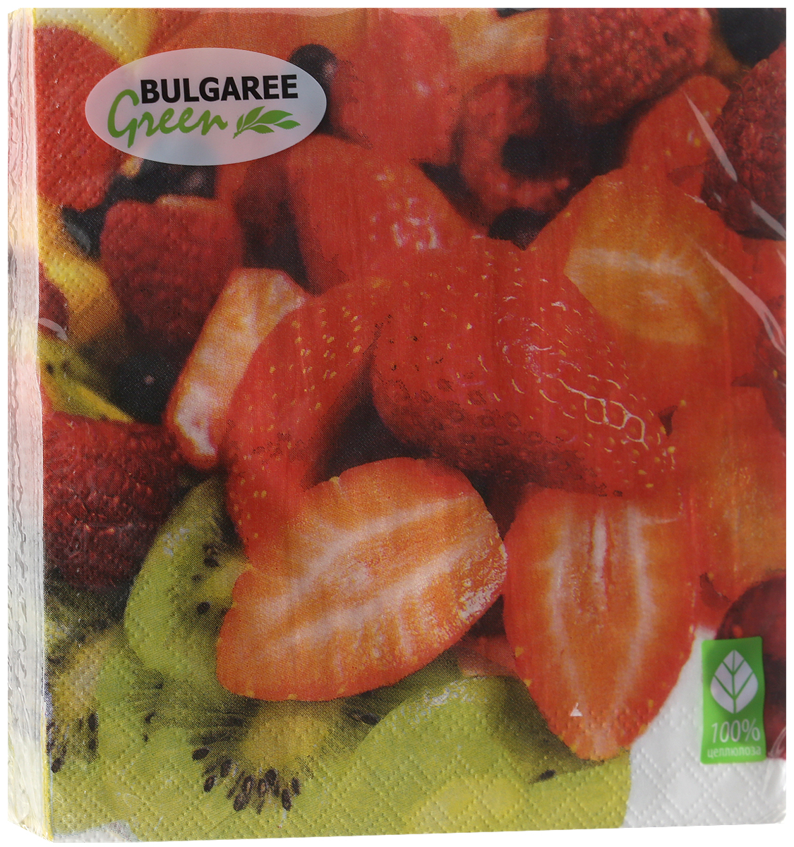 Салфетки бумажные Bulgaree Green Клубника, трехслойные, 33 х 33 см, 20 шт салфетки бумажные bulgaree green вышивка трехслойные 33 х 33 см 20 шт