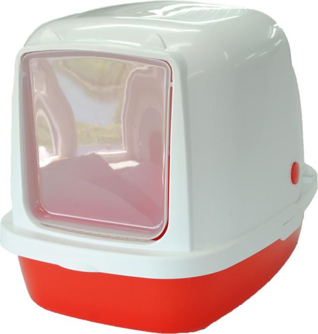 Туалет-домик HomeCat, для кошек и собак мелких пород, цвет: красный перламутр, 53 х 39 х 48 см туалет для кошек curver pet life закрытый цвет кремово коричневый 51 х 39 х 40 см