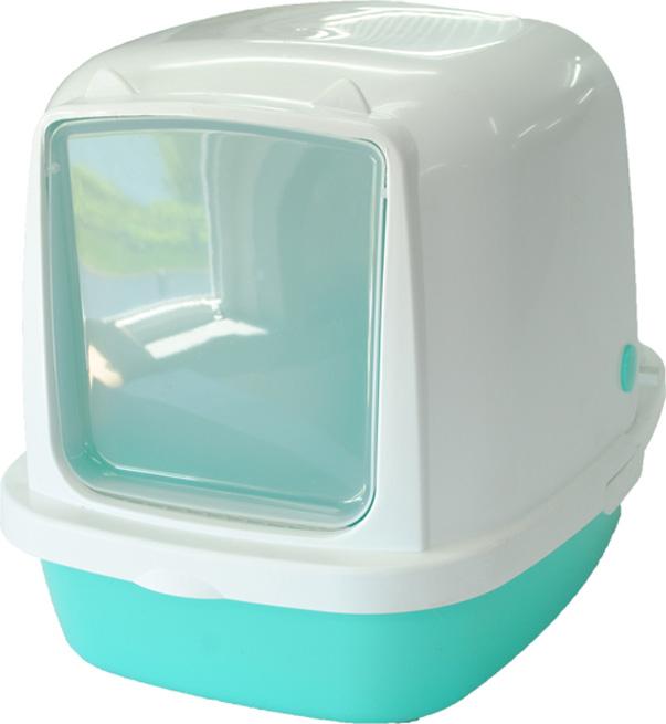 Туалет-домик HomeCat, для кошек и собак мелких пород, цвет: бирюзовый перламутр, 53 х 39 х 48 см туалет для кошек curver pet life закрытый цвет кремово коричневый 51 х 39 х 40 см