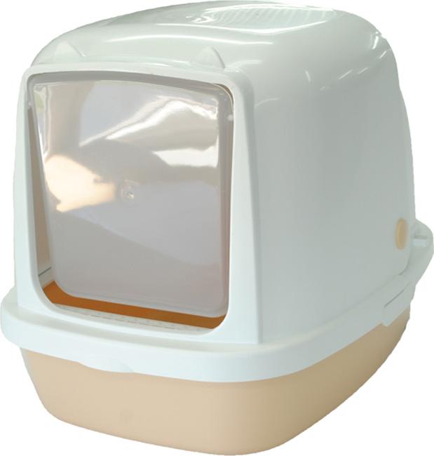 Туалет-домик HomeCat, для кошек и собак мелких пород, цвет: бежевый перламутр, 53 х 39 х 48 см лоток для кошек vanness с аксессуарами цвет голубой бежевый 48 см х 38 см х 19 см