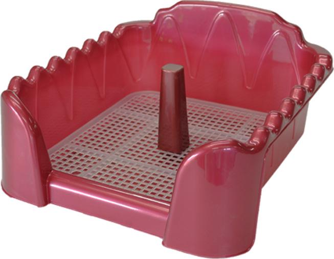 Туалет для собак HomePet, с сеткой и столбиком, цвет: красный перламутр, 60 х 40 см туалет для собак triol с сеткой 40 х 40 х 15 5 см