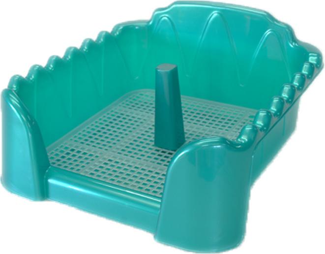 Туалет для собак HomePet, с сеткой и столбиком, цвет: бирюзовый перламутр, 60 х 40 см туалет для собак triol с сеткой 40 х 40 х 15 5 см