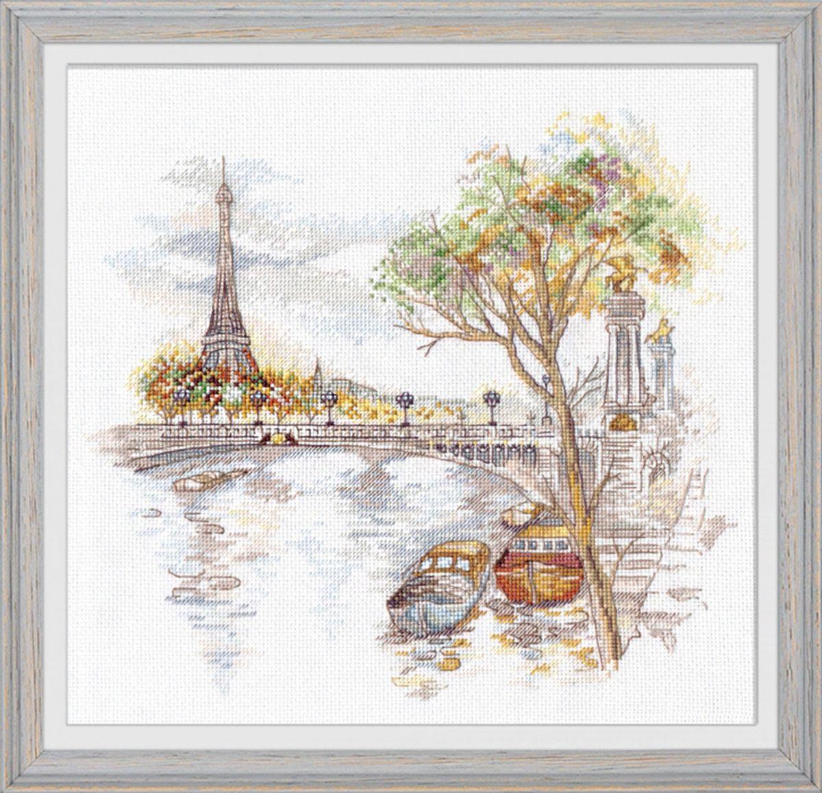 Набор для вышивания крестом Овен Осень в Париже, 27 х 25 см набор для вышивания крестом овен наш цветочек 23 х 24 см