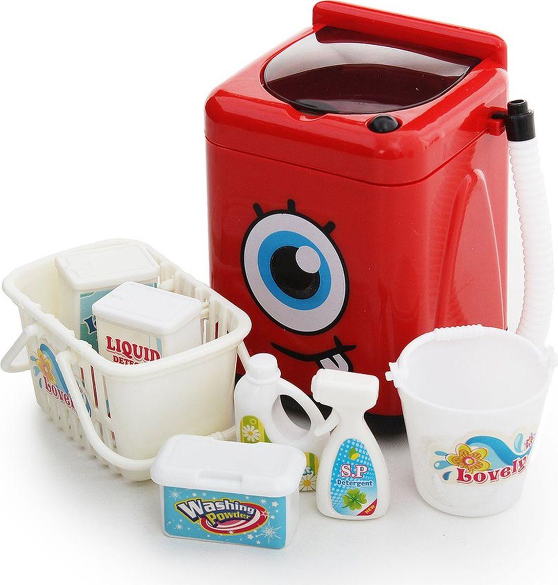 """Сюжетно-ролевые игрушки Fudaer Игровой набор """"Бытовая техника. Стиральная машинка с аксессуарами"""" красный"""
