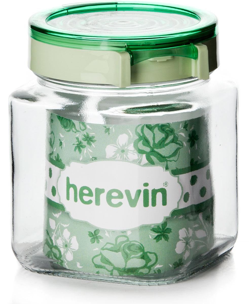 Банка для сыпучих продуктов Herevin, 143010-500, с крышкой, 1 л, цвет в ассортименте банка 11х7 5х12 5 см 500 мл nouvelle банка 11х7 5х12 5 см 500 мл