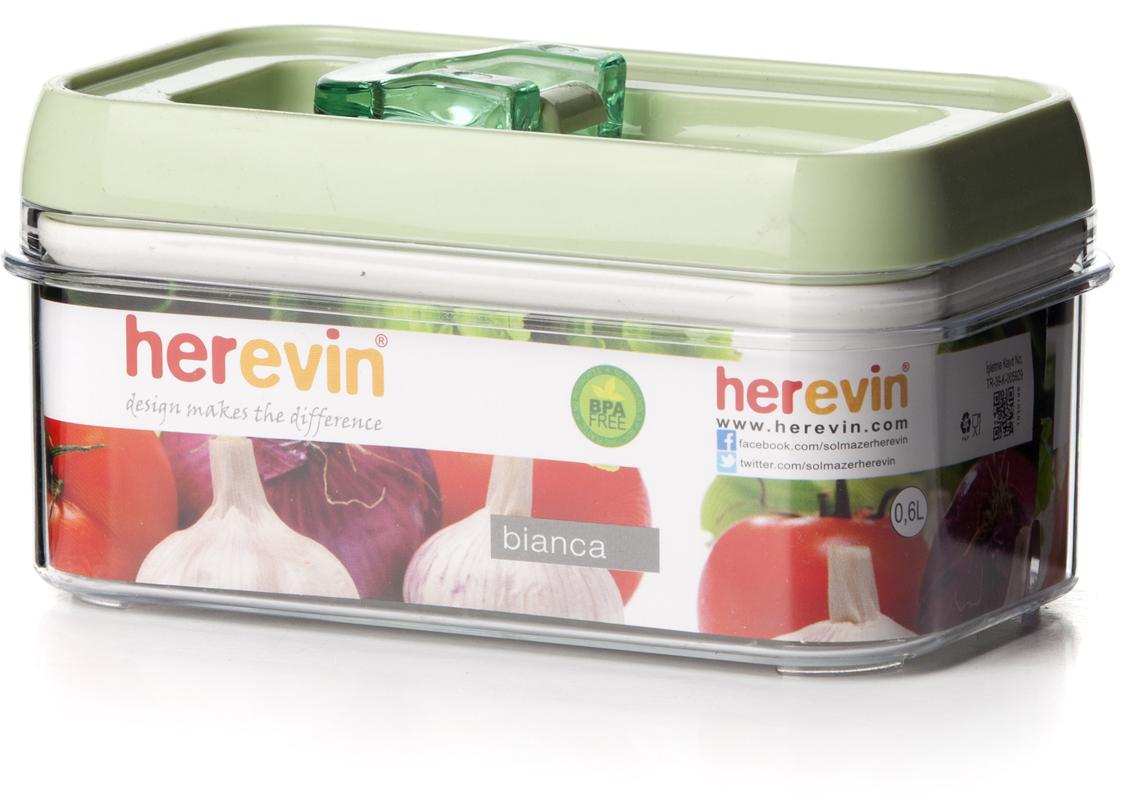 Контейнер для продуктов Herevin, с вакуумной крышкой, 600 мл. 161173-500 контейнер вакуумный для пищевых продуктов herevin 600 мл 161173 033