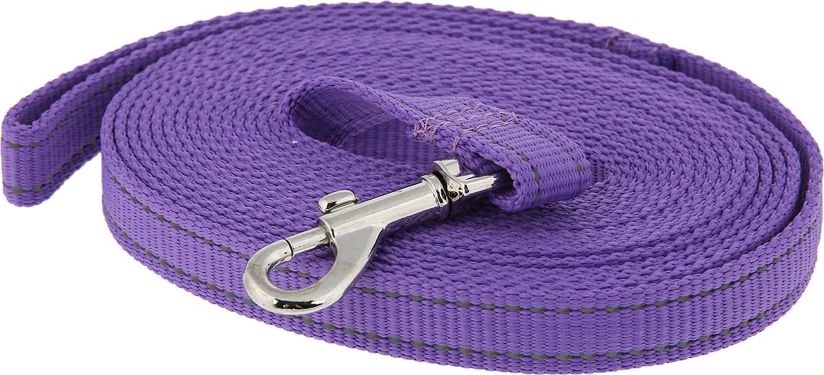Поводок капроновый для собак Аркон, цвет: фиолетовый, ширина 2 см, длина 5 м поводок капроновый для собак аркон цвет розовый ширина 2 см длина 5 м