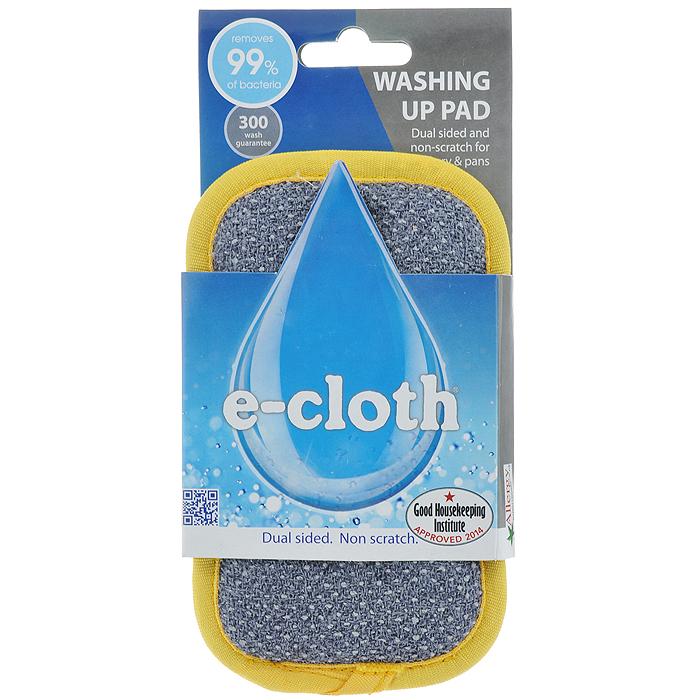 Подушечка для мытья посуды E-cloth, цвет: желтый20092Подушечка E-cloth применяется для мытья посуды без использования химических средств. Двусторонняя подушечка специально разработана мытья посуды. Легко удаляет жир, пригоревшую пищу и бактерии без использования химикатов. Используйте серую сторону для очистки въевшихся загрязнений, мытья сковород и противней, гладкую сторону для стеклянной посуды. Удаляет свыше 99% бактерий. Размер: 16 см х 10 см. Состав: желтая сторона: 81% полиэстер, 19% полиамид; серая сторона: 85% полиэстер, 15% полиамид; губка: 85% полиуретан. Выдерживает до 300 циклов стирки без потери эффективности.