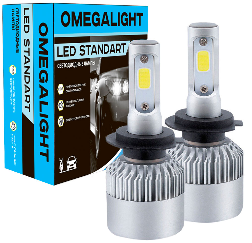 Лампа автомобильная светодиодная Omegalight Standart, цоколь H8/H9/H11, 2400 Лм, 2 шт nikauto car headlight kit led cob 6000k h8 h9 h11 80w set 8000lm bulb auto all in one head lamp for toyota honda vw bmw truck