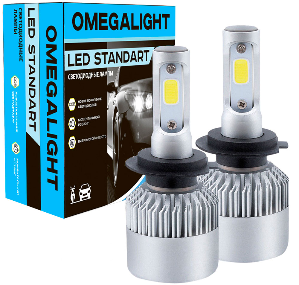 Лампа автомобильная светодиодная Omegalight Standart, цоколь H4, 2400 Лм, 2 шт лампа led clearlight laser vision h4 4300 lm 24w 2 шт