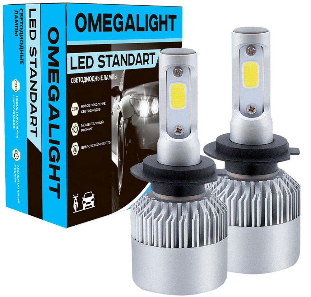 """Лампа автомобильная светодиодная Omegalight """"Standart"""", цоколь HB3, 2400 Лм, 2 шт"""