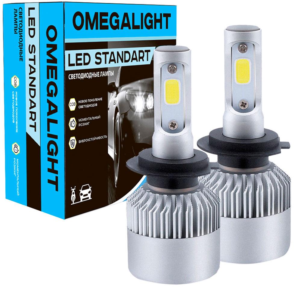 Лампа автомобильная светодиодная Omegalight Standart, цоколь HB4, 2400 Лм, 2 шт автомобильная лампа w5w 5w standart 2 шт philips