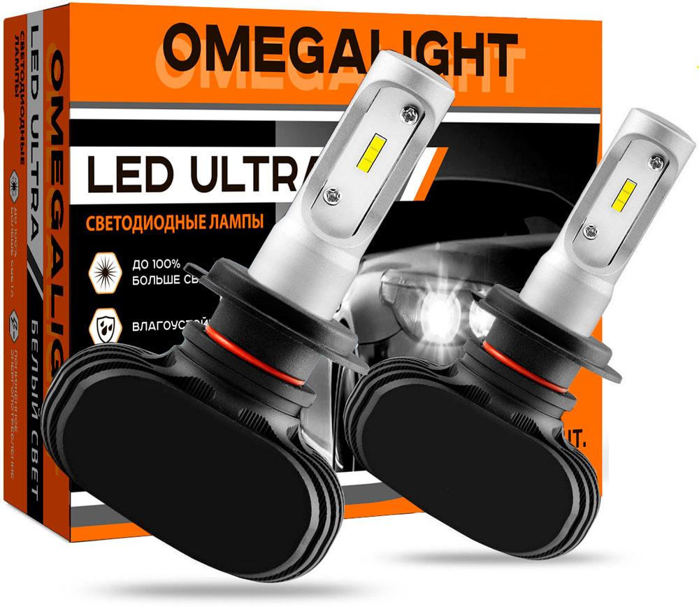 """Лампа автомобильная светодиодная Omegalight """"Ultra"""", цоколь HB3, 2500 Лм, 2 шт"""