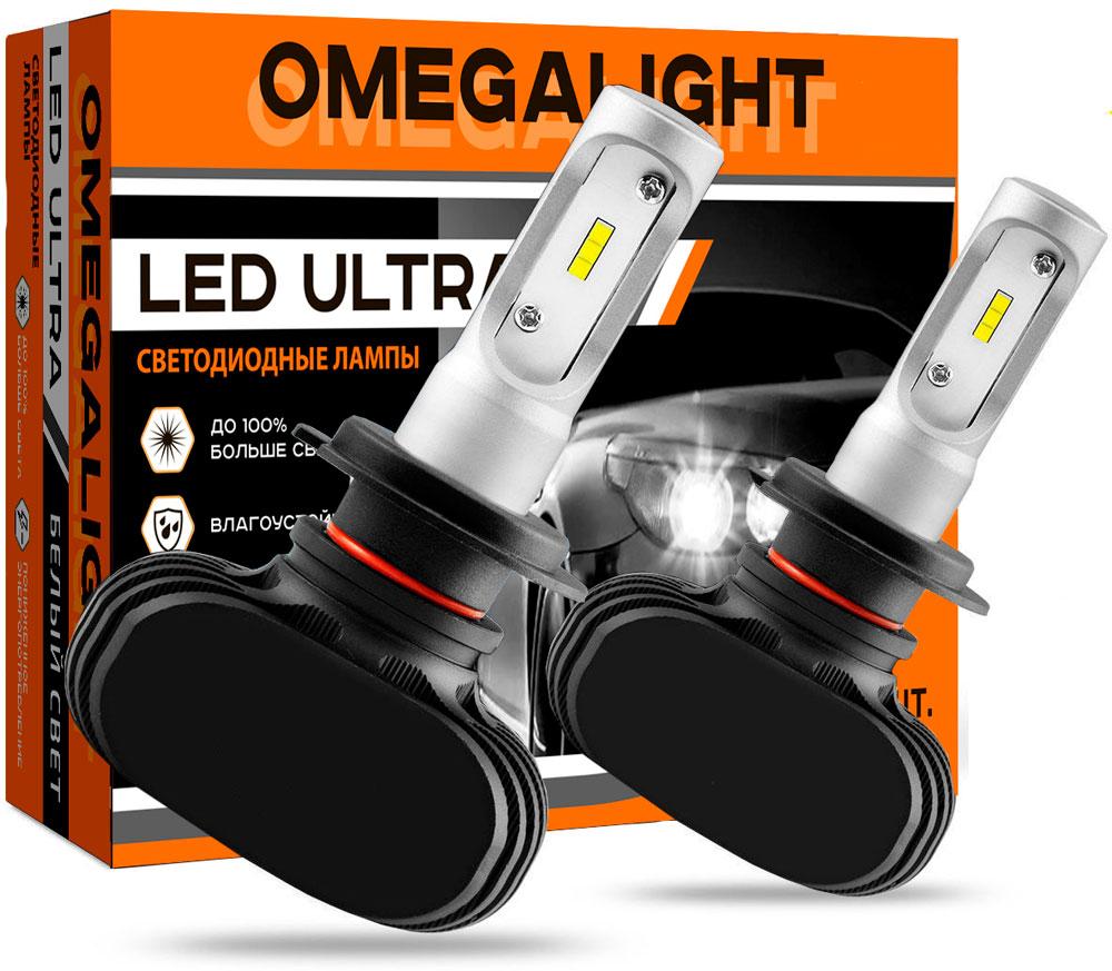 """Лампа автомобильная светодиодная Omegalight """"Ultra"""", цоколь H4, 2500 Лм, 2 шт"""