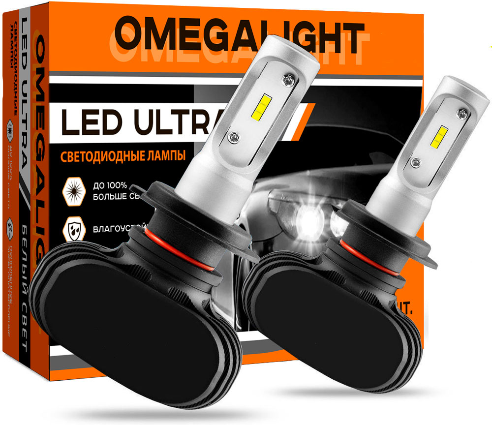 Лампа автомобильная светодиодная Omegalight Ultra, цоколь H8/H9/H11, 2500 Лм, 2 шт nikauto car headlight kit led cob 6000k h8 h9 h11 80w set 8000lm bulb auto all in one head lamp for toyota honda vw bmw truck